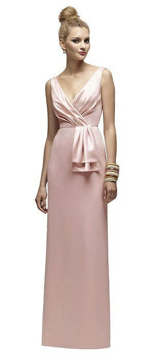 Lela Rose LR172 Long V-neck Sleeveless Belt