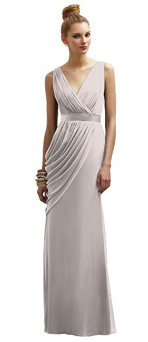 Lela Rose LR174 Long V-neck Sleeveless Belt
