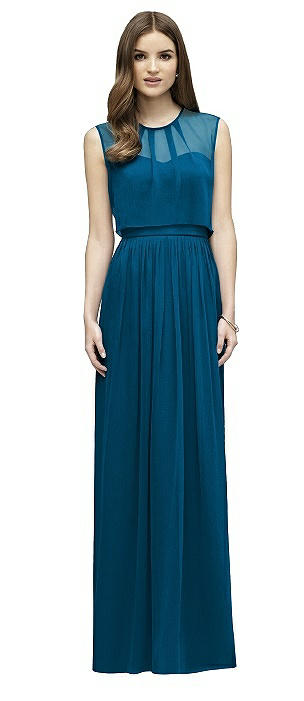 Lela Rose LR222 Long Jewel Neckline Shirred Skirt
