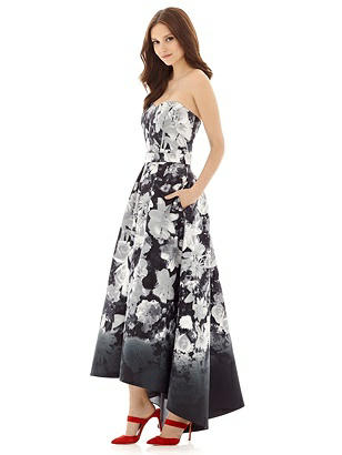 Alfred Sung D699FP Long Strapless Pleated Full Skirt