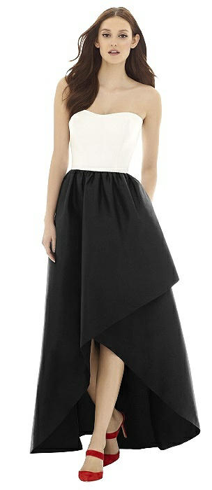 Alfred Sung D730 Long Strapless Shirred Skirt