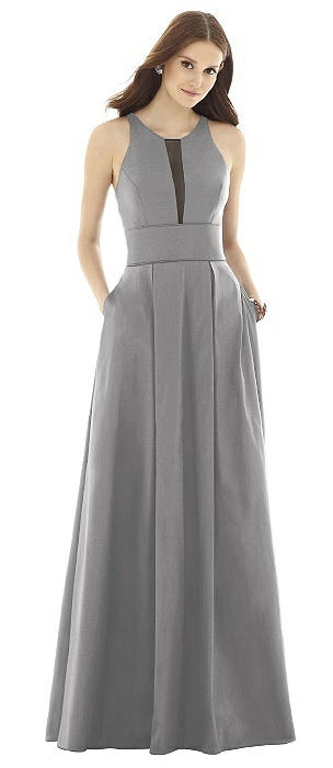 Alfred Sung D733 Long V-neck Sleeveless Sheer Back