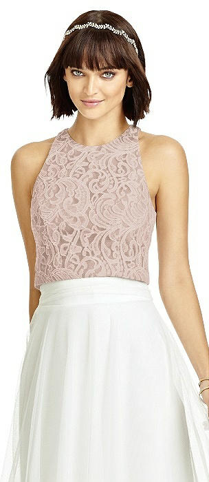 Dessy T2974 Sleeveless Jewel Neck Lace Top