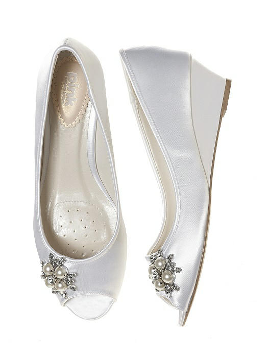 Frosting Dyeable Satin Bridal Wedge White The Dessy Group